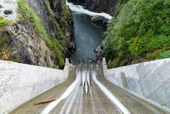 Looking down Cleveland Dam and the Capilano River in North Vancouver, Canada. stock photo