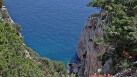 Looking Down a Cliff of Capo Caccia Sardinia Italy stock video footage