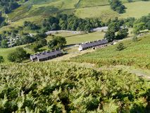 Looking down on cottages by Glenridding, Lake District Royalty Free Stock Photo
