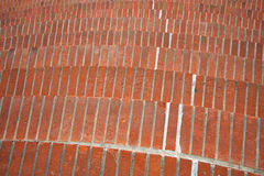 Looking down on curving brick stairs Royalty Free Stock Photo