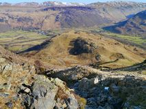 Looking down a dry Scaleclose gill, Borrowdale. Looking to Borrowdale valley from a dry Scaleclose gill Royalty Free Stock Images