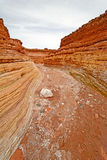 Looking Down a Dry Wash Canyon Stock Images