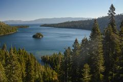 Looking Down at Emerald Bay in Lake Tahoe. A view from above looking down into Emerald Bay in Lake Tahoe, California royalty free stock photography