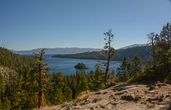 Looking Down at Emerald Bay in Lake Tahoe. A view from above looking down into Emerald Bay in Lake Tahoe, California royalty free stock photo