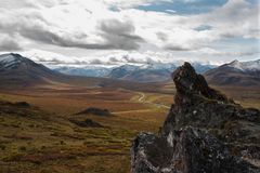 Looking down on fall colours on the Dempster Highway stock images