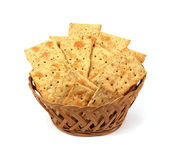 Looking Down on Flat Bread Crackers Stock Photos