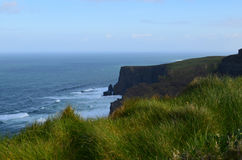 Looking Down at Galway Bay from the Top of the Cliff`s of Moher Royalty Free Stock Images