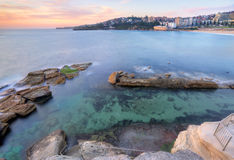 Looking down into Giles Baths Coogee sunrise Royalty Free Stock Photo