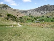 Looking down into Glenridding valley, Lake District. Greenside mines end of valley with Heron Pike up on the right stock image