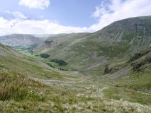 Looking down the Grisedale valley to Place Fell Stock Images