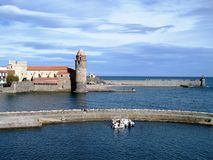 Harbour and clocktower,Collioure, France royalty free stock image