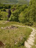 Looking down hill path Stock Images