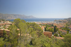 Looking down on hillside homes,French Riviera, France Royalty Free Stock Image