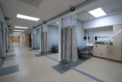 Looking down a hospital hall way. At generic hospital royalty free stock image