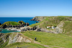 Looking down on Kynance Cove, Cornwall. Panorama of cliffs and Kynance Cove, Cornwall Stock Images