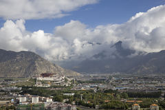 Looking down Lhasa city Stock Photography