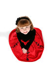 Looking down on little girl in  red dress Stock Images