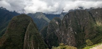 Looking Down From Machu Picchu. The view from the ruins of Machu Picchu, Peru stock photo