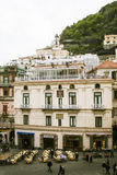 Looking down on main square in Amalfi on overcast day Stock Images