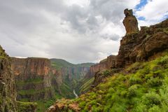 Looking down the Maletsunyane valley. Lesotho Stock Image