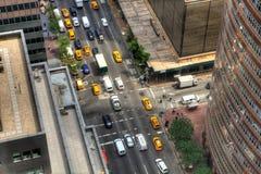 Looking down on Manhattan traffic Stock Photo