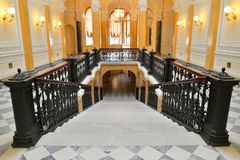 Looking down a Marble staircase in the Grand Gatchina Palace stock photo
