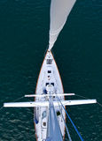 Looking down the mast of a tall modern sailboat Royalty Free Stock Images