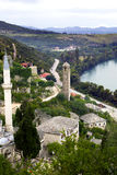 Looking down on mosque at Pocitelj, Bosnia-Gercegovina Royalty Free Stock Photos