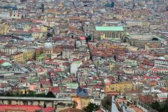 Looking down on Naples from Castel Sant Elmo. Amazing birds eye view of the beautiful city of naples napoli from the castel sant elmo. roofs coloured buildings royalty free stock photos