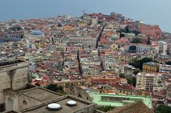 Looking down on Naples from Castel Sant Elmo. Amazing birds eye view of the beautiful city of naples napoli from the castel sant elmo. roofs coloured buildings stock photos