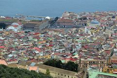 Looking down on Naples from Castel Sant Elmo. Amazing birds eye view of the beautiful city of naples napoli from the castel sant elmo. roofs coloured buildings stock image