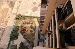 Looking down on a new housing skyscraper in gurgaon. Looking down on a new housing society still under construction in gurgaon, delhi, jaipur, lucknow, bangalore royalty free stock photography