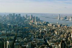 Aerial New York City. Looking down  on New York City royalty free stock photos