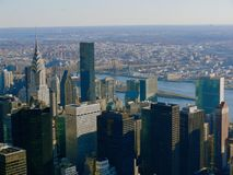 Aerial New York City. Looking down  on New York City stock photo