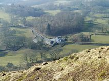 Looking down on Oaks Farm near Loughrigg tarn Stock Images
