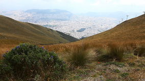 Looking down onto the city of Quito, Ecuador stock footage