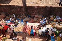 Looking down onto an Indian food market Goa Stock Photos