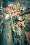 Looking down onto the Rainy Street of Old Town Royalty Free Stock Image