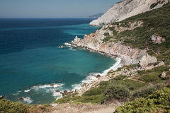 Looking down onto a Skiathos beach royalty free stock photos