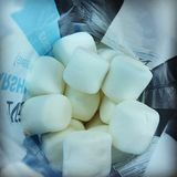 Bag of Large Fluffy White Marshmallows. Looking down into an opened bag of large fluffy white marshmallows stock photography