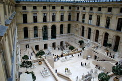 Looking down over crowds that are standing in the courtyard,The Louvre,Paris,France,2016 Royalty Free Stock Photography