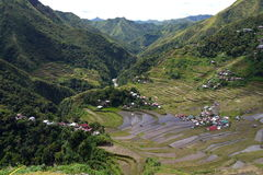 Looking down over the Rice terraces of Batad in the Philippines Royalty Free Stock Photos