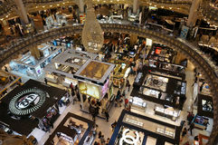 Looking down at the Perfume Stores. Photo of perfume stores at the galeries lafeyette in paris france on 9/15/14.  The galeries lafeyette is a huge shopping Royalty Free Stock Image