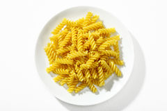 Looking down at a plate of properly cooked pasta Stock Photos