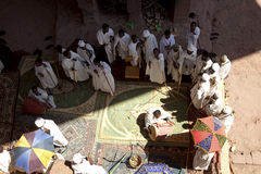 Looking down at priests in a church, Lalibela Stock Images