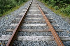 Looking down the railroad tracks Stock Photo