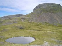 Beckhead Tarn with Great Gable behind. Looking down from Rib End leading up to Kirk Fell, Great Gable looks very imposing at the back and is very popular among stock photo