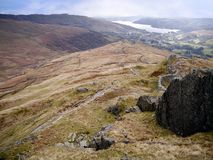 Looking down ridge to Ambleside and Lake Windermere Royalty Free Stock Photos