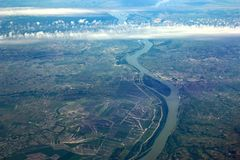River Danube. Looking down on the River Danube in Hungary stock image