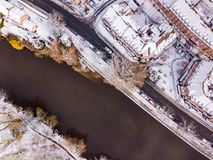 Aerial view of snowy River Severn, Shrewsbury. Stock Photo